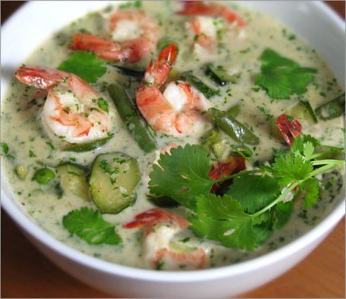 Thai green curry w/ shrimp