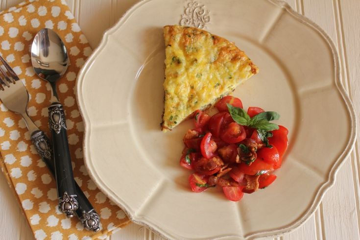 ... ~ POTATO AND LEEK FRITTATA + CHERRY TOMATO, BACON, AND BASIL SALAD