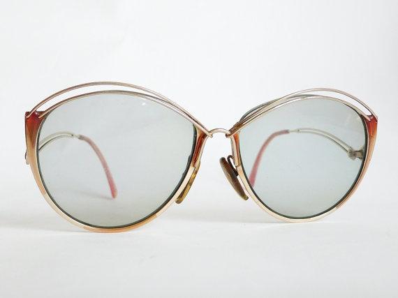 Vintage Dior Eyeglass Frames : christian DIOR Vintage Eyeglass Golden Frames 1970s ...