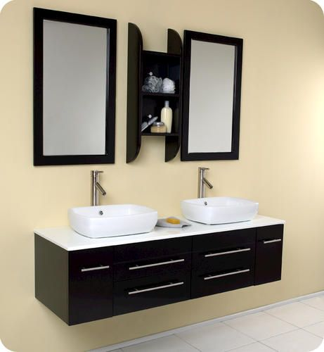 ... Bellezza Espresso Modern Double Vessel Sink Bathroom Vanity at Menards