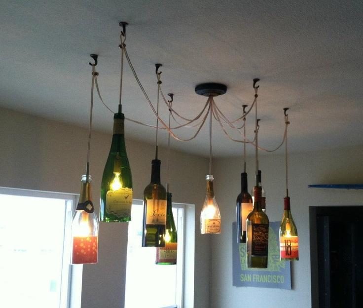 Wine bottle light fixture diy pinterest - Wine bottle light fixture chandelier ...