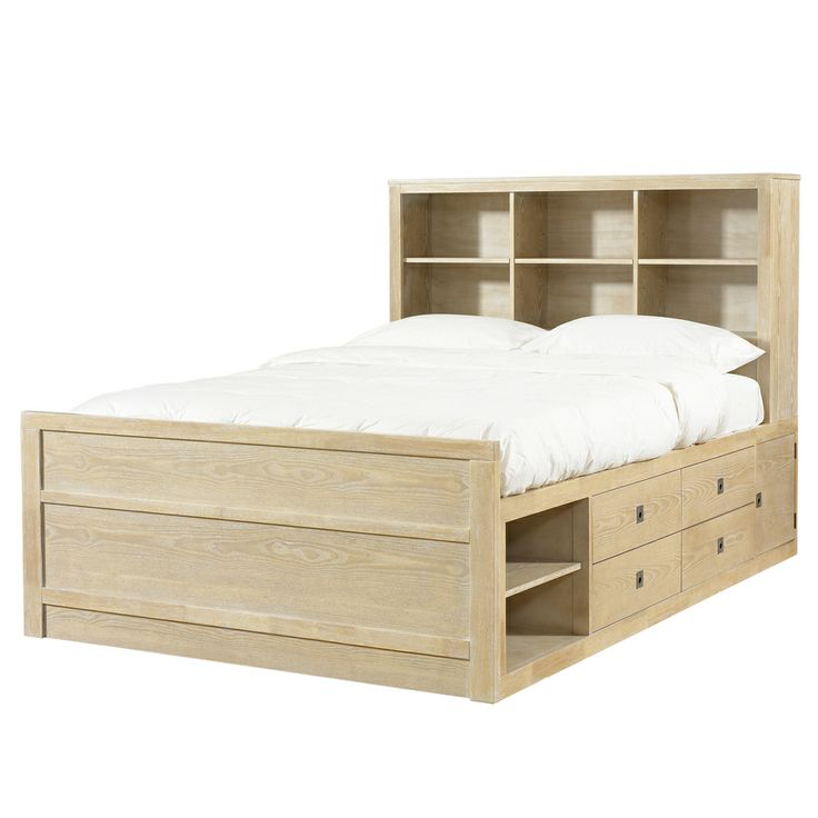 Powell Cassidy 39 Washed Teak 39 Full Size Storage Bed