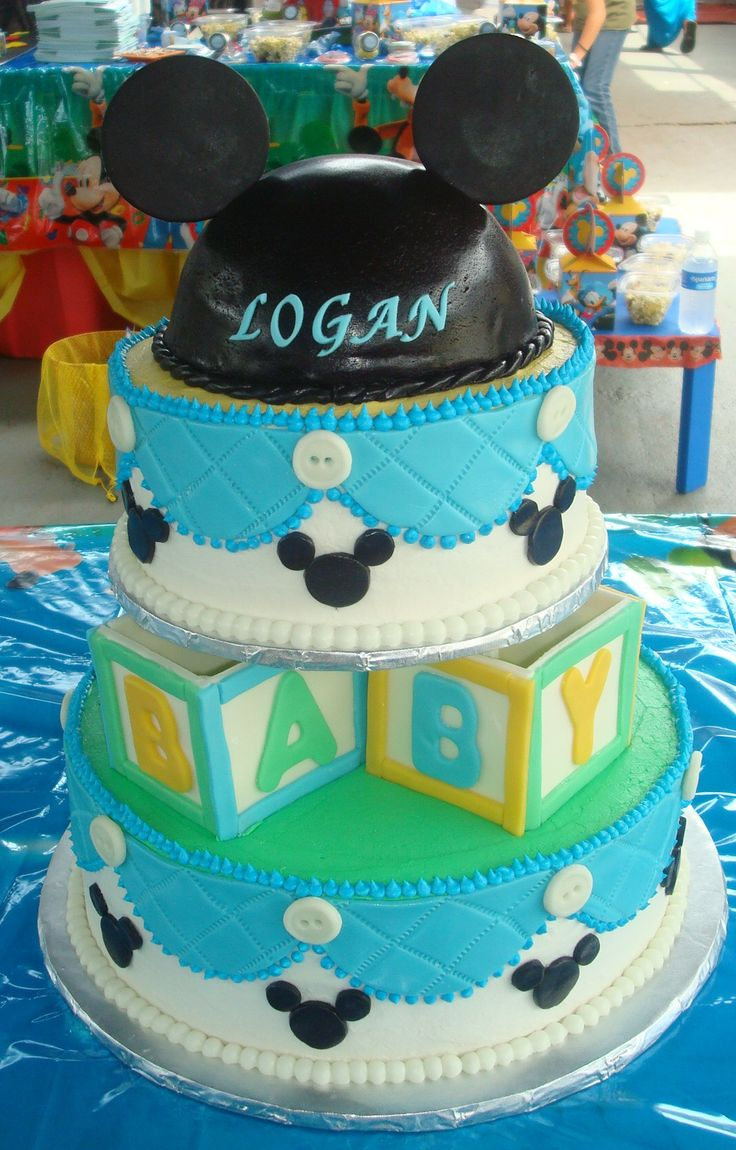 mouse baby shower mickey mouse hat and 2nd tier are chocolate cake