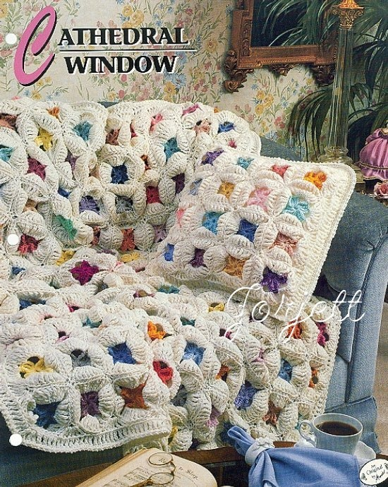 Crochet Quilt : Cathedral Window Quilt Afghan, Annies crochet pattern eBay