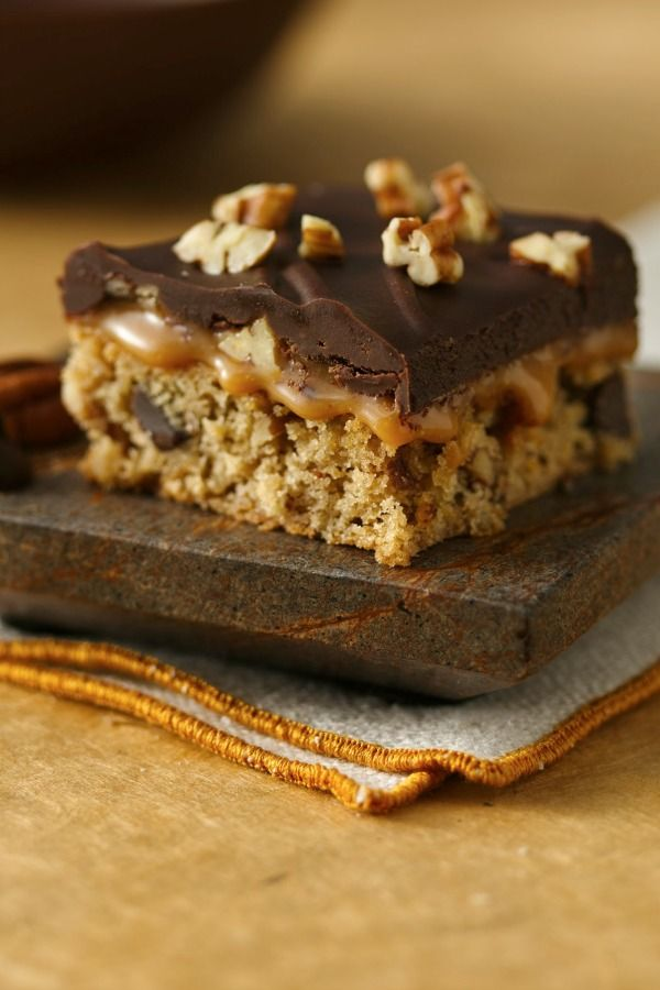 ... pecans and cookie mix stir up into a delicious gluten-free turtle bar