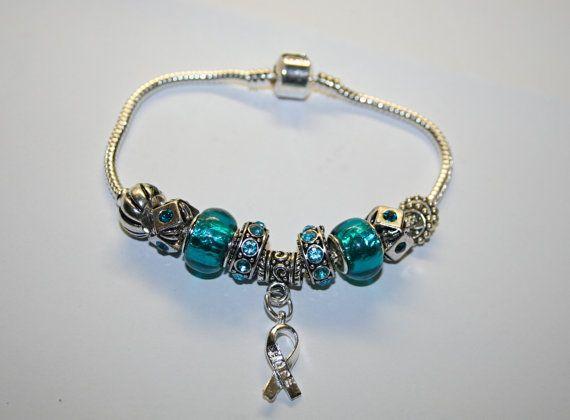 Cervical cancer teal and white charm bracelet