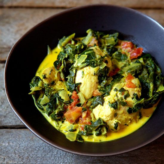 Indian-Spiced Chicken and Spinach...coconut milk instead of cream