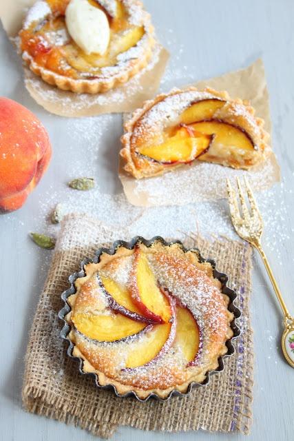 Eggless Peach and Cardamom Bakewell Tarts