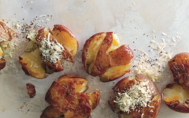 Panfried Smashed Parmigiano-Reggiano Potatoes