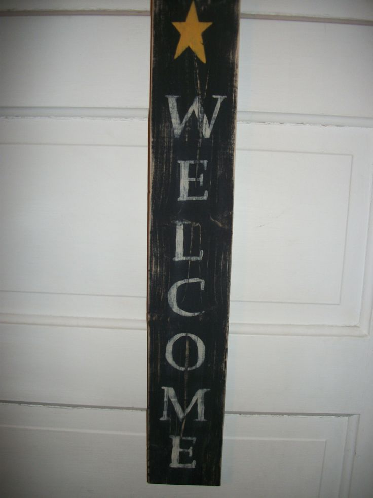 Vertical wooden primitive rustic star welcome sign