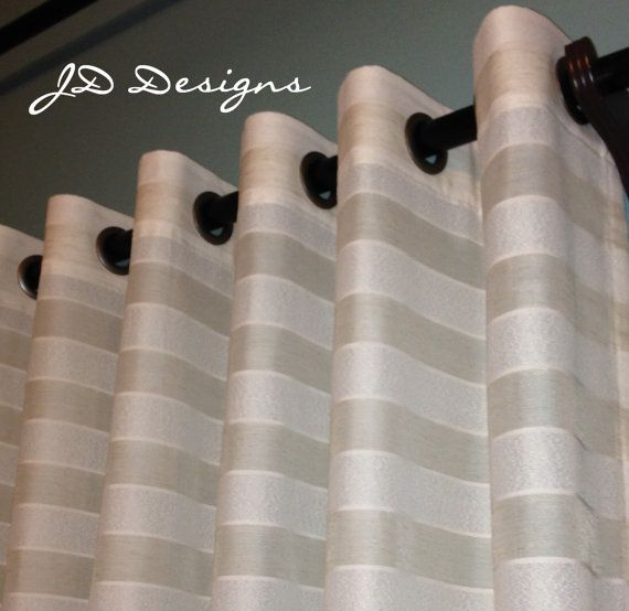Extra Long Shower Curtain 114x91 Stripe Sheer Cream White Jd
