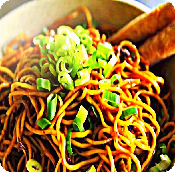 Honey garlic scallion stir-fried noodles that are sweet, with a touch ...