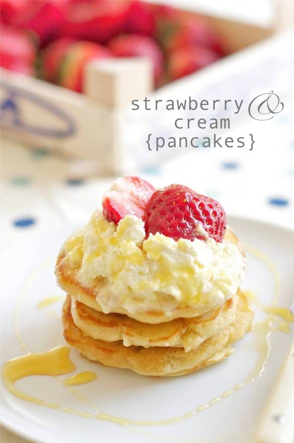 Strawberries And Cream Pancakes Recipe — Dishmaps