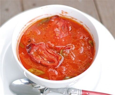 Roasted Tomato and Basil Soup. I am getting another 4 lbs. of tomatoes ...