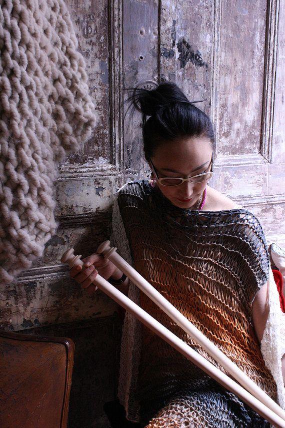 Giant knitting needles size 50 25mm straight 32 by loopymango, USD54....