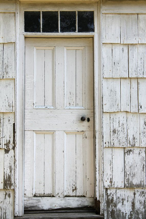 Old White Wooden Door 8inx12in Photograph Old White