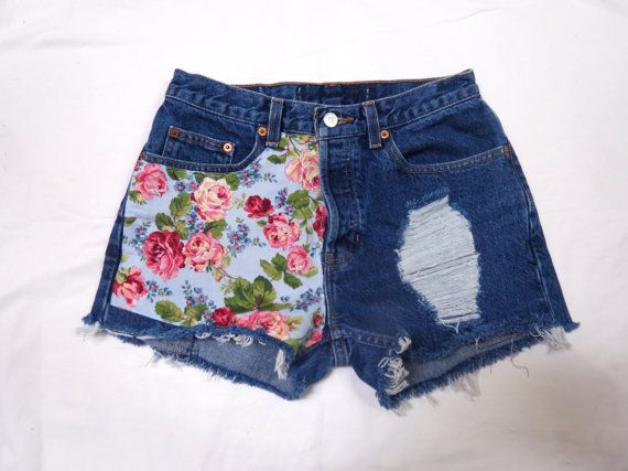 Floral high waisted denim shorts by studsstripes on etsy 30 99