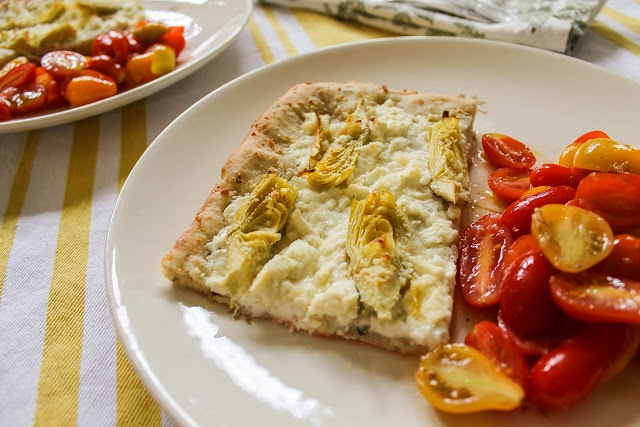 White Pizza with Roasted Artichoke Hearts and a tangy tomato salad ...