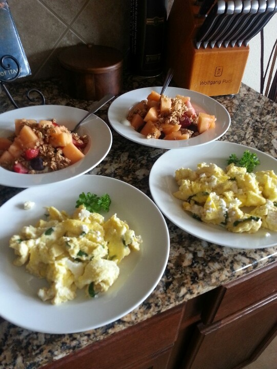 love to cook! Scrambled eggs with basil & feta cheese. One of my ...