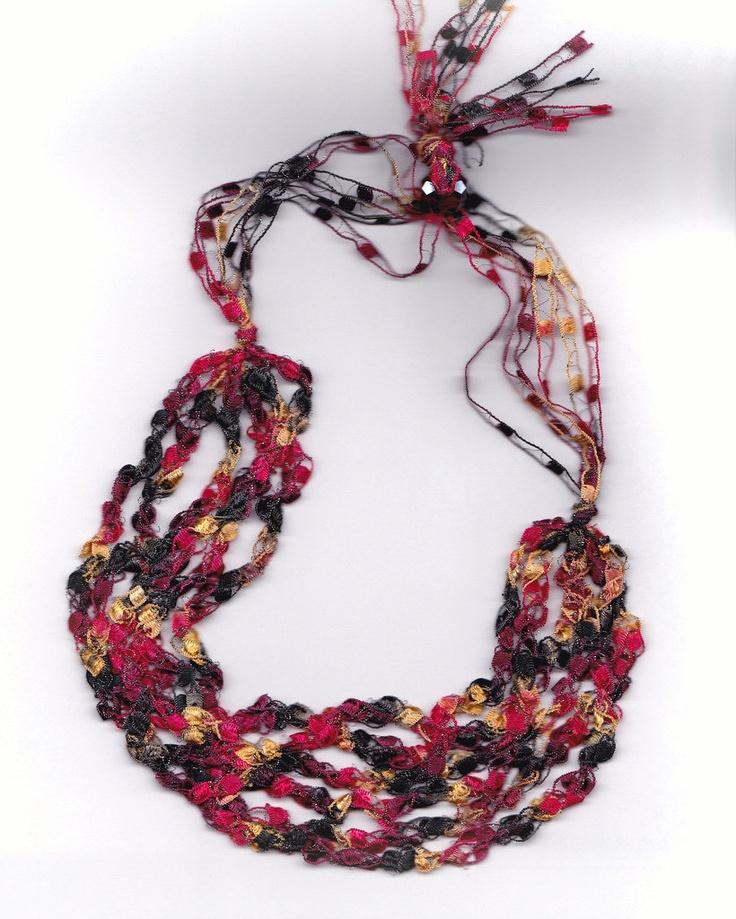 Crochet Necklace, crocheted ribbon Craft Ideas Pinterest
