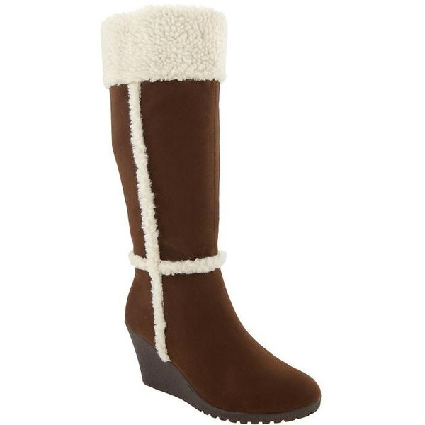 Old Navy Womens Faux Suede Sherpa Trim Boots ($35) liked on