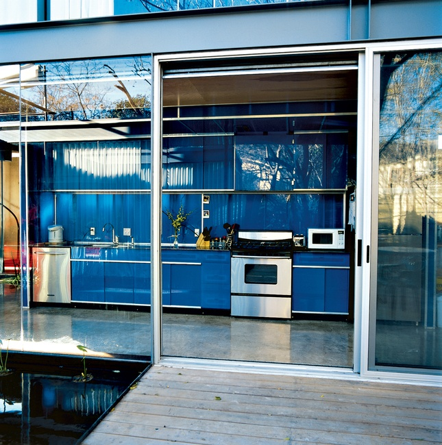 Shiny blue kitchen