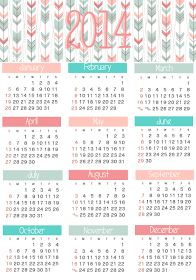 FREE printable 2014Calendar - whole year at a glance