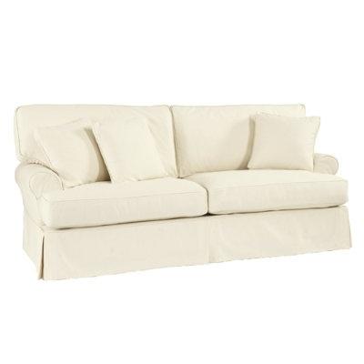 Ballard Designs White Slipcovered Sofa Home Living Room Pinte