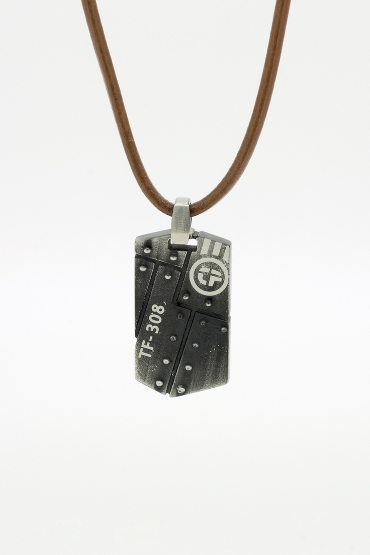 Leather cord and black ip Stainless pendant