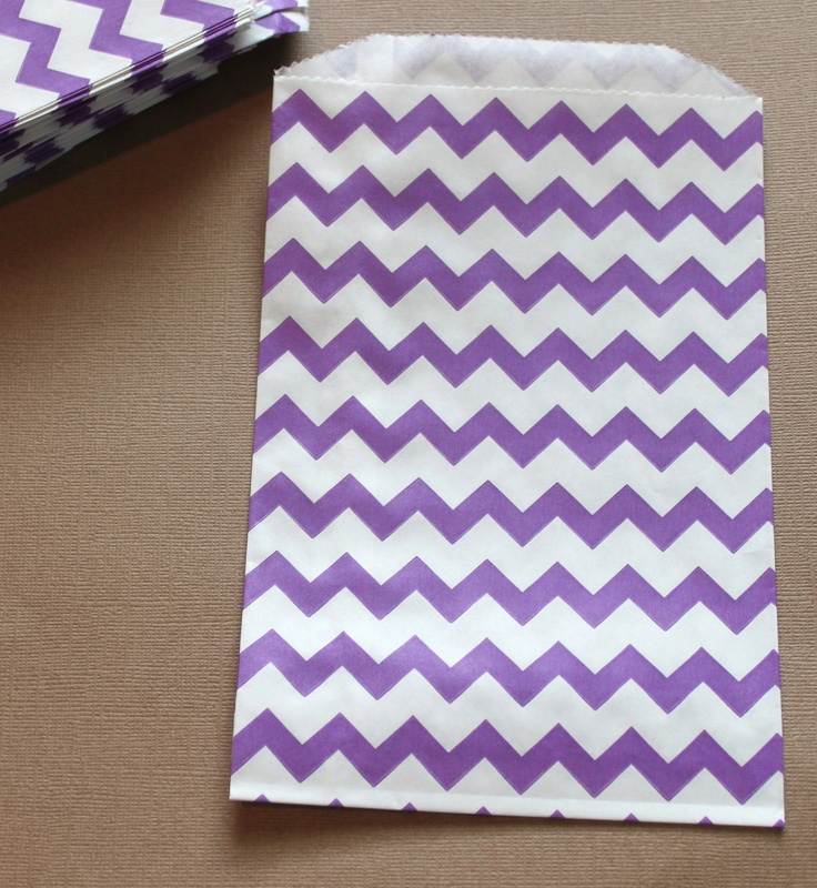 Purple Chevron Candy Buffet Favor Bags Birthday Party Favors Wedding ...