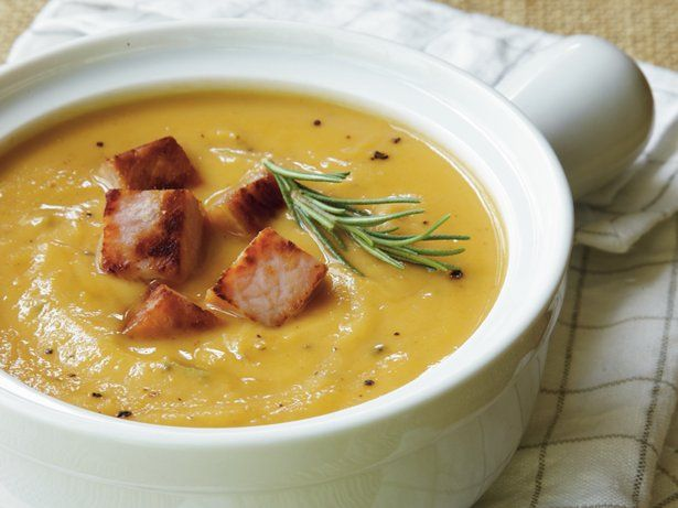 Sweet Potato-Peanut Soup with Ham Croutons | Recipe