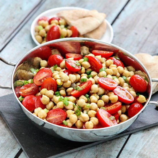Warm Chickpea Salad with Tomatoes - this simple, delicious salad makes ...