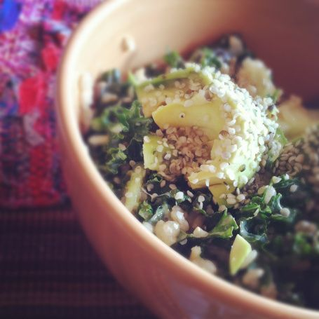 Kale rice bowl with miso dressing | Food | Pinterest
