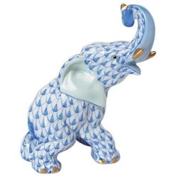 Herend Elephant Trunk Up Blue Fishnet