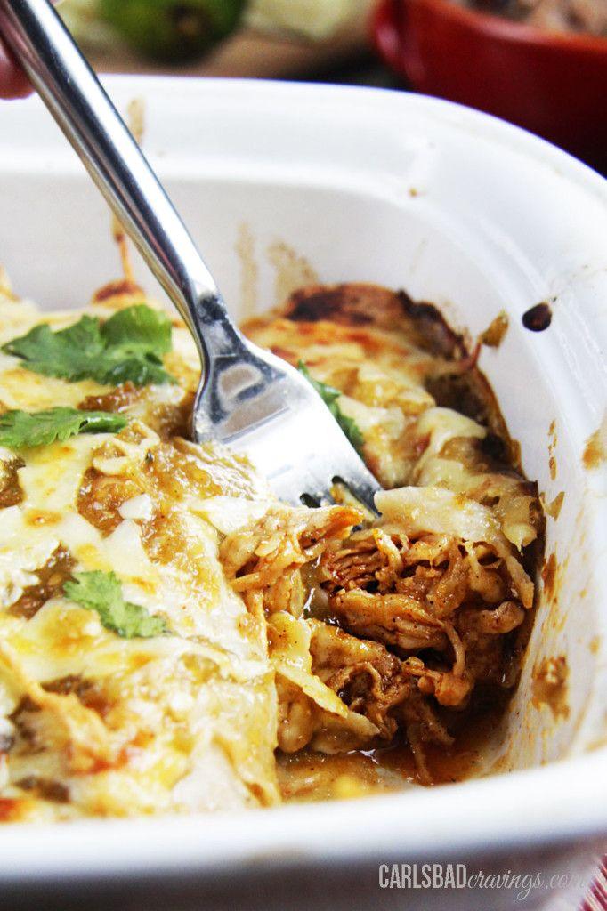 Salsa Verde Honey Lime Pepper Jack Chicken Enchiladas | http://www ...