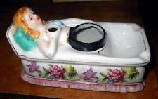 Antique Porcelain Reclining Lady Ink Holder, Pen Holder & Tray Desk ...