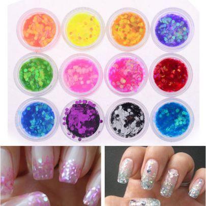 12 Colors Tiny Hexagon Glitter Paillette Spangles Nail Art Decoration Set pictures