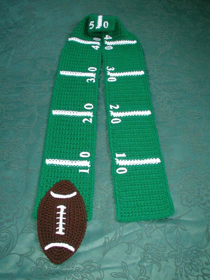 Knitting Pattern For Football Scarf : Football SCARF Superbowl Game Time