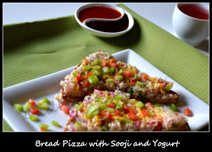 Bread Pizza with Sooji and Yogurt