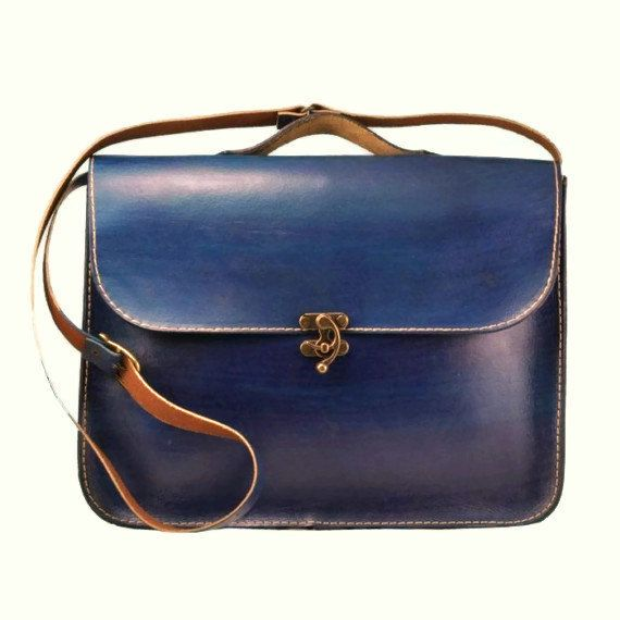 Blue Leather Laptop Bag Briefcase Messenger Bag by ammaciyo