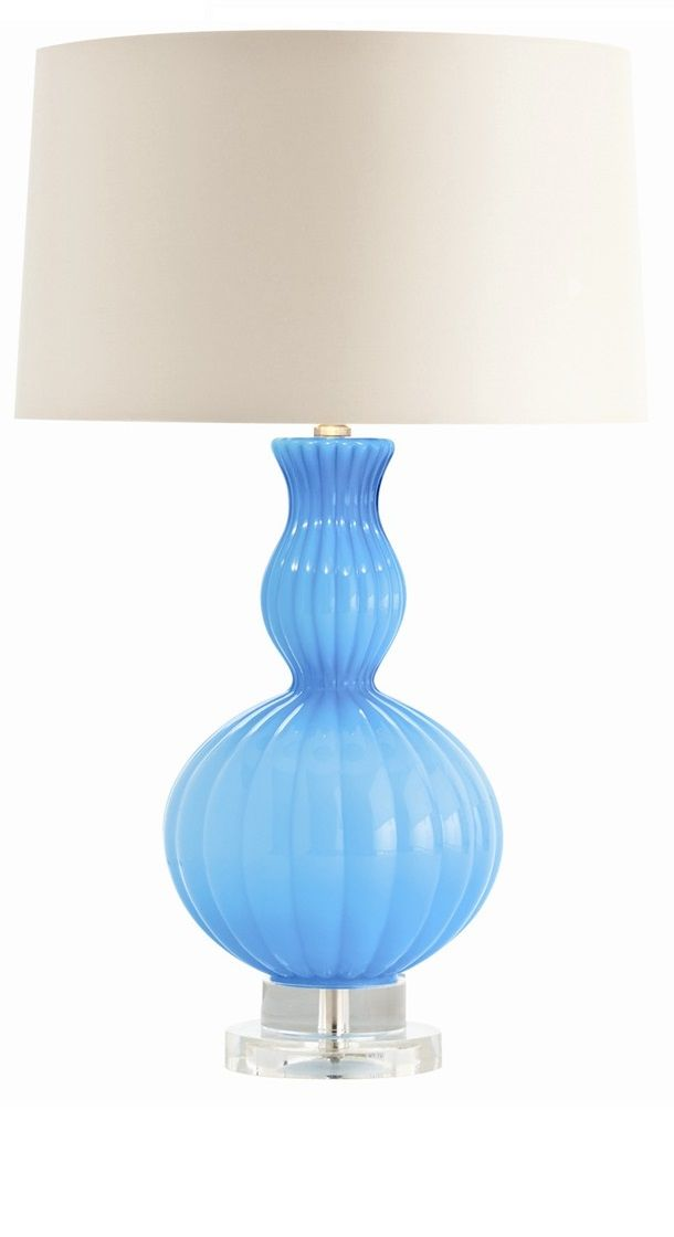 Designer Lighting Ideas From Hollywood Beautiful Aqua Blue Art Glass Table Lamp Over 3500