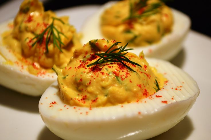 Just made Deviled Eggs, dill, olive oil mayo, dijon mustard, red wine ...