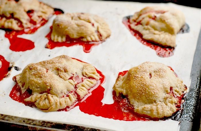 strawberry hand pies -- it looks like the execution needs tweaking ...