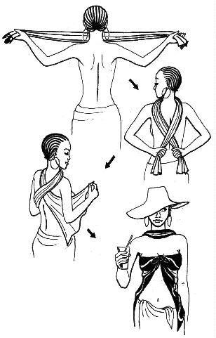 Pareos.  O sarong é um grande retângulo de tecido que é enrolado em volta da cintura para enfrentar o sol.   Em um tecido fluido e leve, corte um retângulo de 1,15 m por 2 m. Faça uma bainha dupla nas bordas externas.  Envolvido em torno da cintura, ele vai fazer uma saia linda praia. Amarrada ao redor do pescoço, será um roupão muito feminina. Roupa chique: passar o sarong plissado no pescoço e levar a panela de volta. Digite tanto extrémintée e amarrá-los na frente, entre os seios.