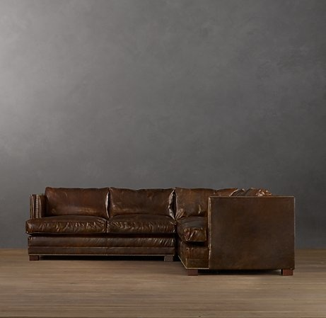 sectional couch in worn leather home decor family dining living roo