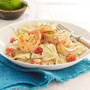 Creamy Tomato-Basil Pasta with Shrimp Recipe from our friends at ...