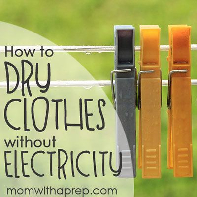 How to Dry Your Clothes Without Power - Mom with a PREP //  Whether you are existing in a post-disaster situation with no power or you are choosing to rely less on the grid that provides power for your home, finding ways to effectively dry your clothes, in no matter what amount of space that you have, can be daunting if the only option you've seen is the large telephone-like limbers that take up the entire backyard of someone's home.
