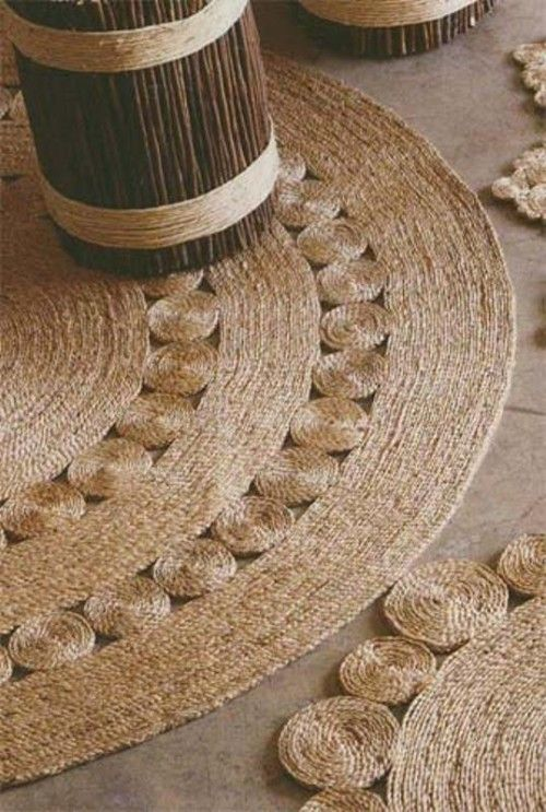 Jute or sisal rug using glue or thread. Apparently glue doesn't last as long so thread is better for long-term.