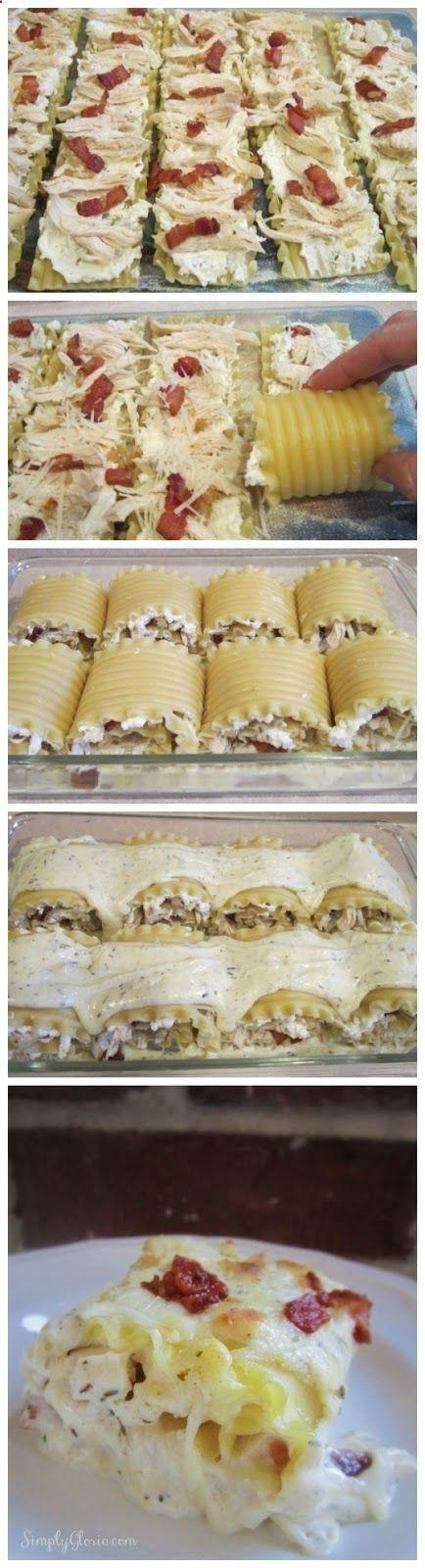 Chicken Bacon Lasagna Roll Ups | good food | Pinterest