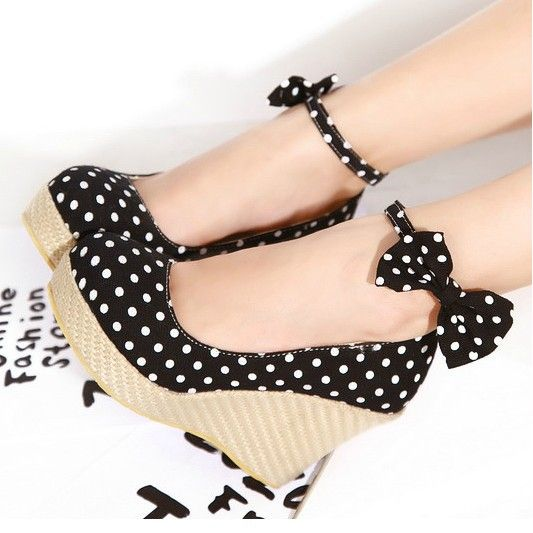 black polka dot wedges shoes to for